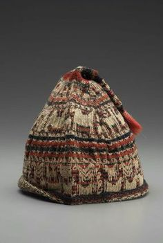 Mislabeled Bolivian knitted cap: is actually from the Calamarca district, northern Dept Aroma, Dept La Paz, Bolivia.  .MFA Boston