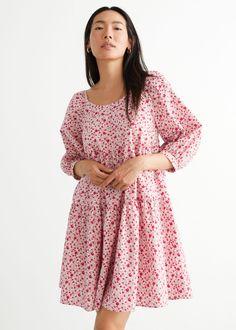Balloon Sleeve Mini Dress - Red Florals - Mini dresses - & Other Stories GB