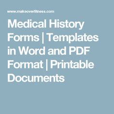 New Patient Medical History Form  Medical Templates