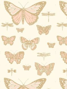"Whimsical Elegance Butterflies & Dragonflies imported from Cole & Son of the UK is elegant, & surprises with its scale. Featuring large graphical butterflies & dragonflies - pattern repeat - 28"" - rol                                                                                                                                                                                 More"
