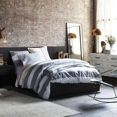 West Elm offers modern furniture and home decor featuring inspiring designs and colors. Create a stylish space with home accessories from West Elm. West Elm Bedding, Grey Bedding, Bedding Sets, Striped Bedding, Home Bedroom, Bedroom Furniture, Bedroom Decor, Bedrooms, Bedroom Ideas