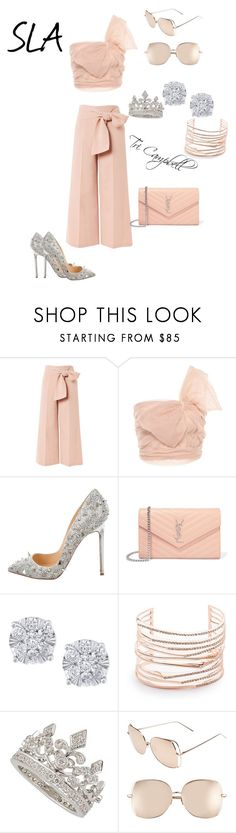 """Pretty In Pink"" by tritheslaqueen on Polyvore featuring Topshop, RED Valentino, Christian Louboutin, Yves Saint Laurent, Effy Jewelry, Alexis Bittar, Garrard and Linda Farrow"