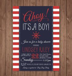 Nautical baby shower invitation, Ahoy its a boy baby shower invitation, Baby shower invitation, Nautical boy baby shower invitation by bauderdesignstudio on Etsy