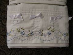 Hand Embroidered Pillow Cases Blue Floral and Bows OOAK by Hisnow, $9.95