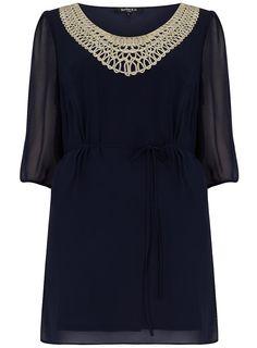 Scarlett & Jo Navy Embroidery Detail Dress > www.evans.co.uk.