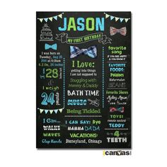 Little Man First Birthday Chalkboard Poster Sign. Boy's First Birthday Stats. Bow Tie. Bowties Birthday Party. Baby Boy. Photo Prop 22 by 800Canvas on Etsy