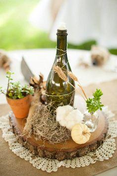 Fall Wedding Centerpieces, DIY Wine Bottle & Wick, Fairy Lights, Ghost Pumpkins, Lace , Succulents, Wheat, Cotton, Wood Cookies; Southern Wedding; Oak Level Farm