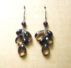 14kw earrings with smoky topaz and garnet. By DVVS Fine Jewelry