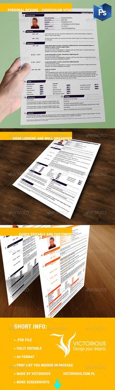 Personal Resume - Curriculum Vitae  #GraphicRiver         If you want to be noticed, try to stand out from the crowd! It's nice looking and well organised one page information about you. Change anything you want if it will necessary