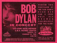 6- 02 22 1998 Bob Dylan Concert Poster