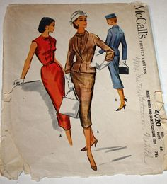Vintage 1950s Sewing Pattern McCall's 4020 Misses'