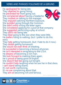 Verbs and Phrases Followed by a Gerund