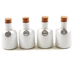 Feast Ceramic Decanters - Olive Oil, Salad Dressing, Vinegar and Milk. #ceramic #decanter #kitchen