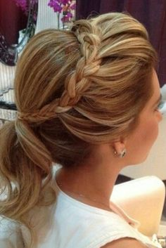 Braided Crown with Pretty Bridal Ponytail Hairstyles Up Hairstyles, Pretty Hairstyles, Braided Hairstyles, Wedding Hairstyles, Bridal Ponytail, Bridal Hair, Ponytail Updo, Good Hair Day, Love Hair
