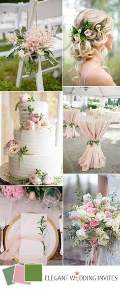 elegant wedding color ideas in blush and green for 2017