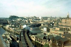 Northbound coal train approaching the Great Central viaduct and Weekday Cross, heading north through Victoria Station, Nottingham, early Nottingham Uk, Steam Railway, British Rail, Old Trains, Steam Locomotive, Train Tracks, Paris Skyline, Past, Black Hood