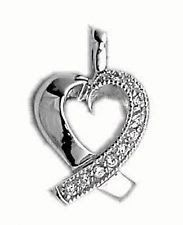 Genuine Diamond Heart Pendant Necklace set in Solid Sterling Silver