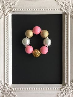 Pink and gold bubblegum bracelet by LilchicboutiqueLIC on Etsy