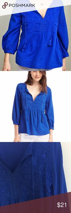 Gap Embroidery Tassel Split-neckline Top blue sz S Cotton Embroidery Tassel Split-neckline Top from the Gap, size small! Bought this summer and worn once. Great condition. GAP Tops