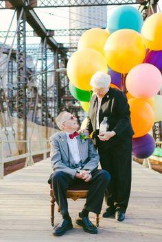 61 ans de mariage, photoshoot inspiré par Là-haut :) <3 Adorable !