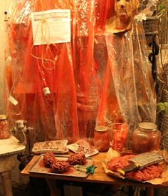 Halloween 2015 morgue scene - plastic sheets and blood Asylum Halloween, Halloween Scene, Adult Halloween Party, Halloween Haunted Houses, Halloween Items, Halloween 2015, Halloween Projects, Holidays Halloween, Scary Halloween