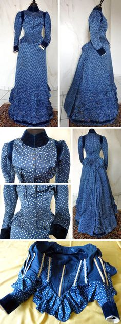 Day dress, circa 1895. Royal blue silk with white dots and velvet trim. Skirt trimmed above hemline with 6 ruffles, 5 with knife pleats and 1 of velvet. Back of skirt has 2 panels attached at waistline. Bodice trimmed with velvet at cuffs, upper arms/shoulders and for standup collar. Waistline has ruching at front and back and ruffle outlining hem. Ruffle weighted in back. Collar closes with hooks and eyes and front opens with buttons (4 blue glass and 5 self-covered). Via Antique-Gown.com.