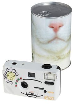 with this 35mm, flash-equipped Holga camera. It comes with flashing colored lights, multiple 'meows,' and other sound effects at the press of a button to capture your cat's curiosity or fetch Fido's fancy while you take his or her picture.