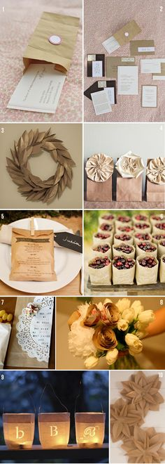 love the paper bag wreath and the menu on the bag