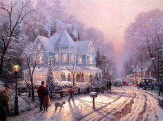 A Holiday Gathering - Thomas Kinkade - World-Wide-Art.com