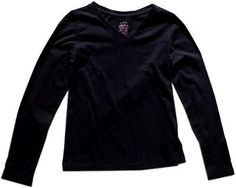 ❗ NEW LISTING 3.50 @SalesForToday  Girls Long Sleeve Solid Cotton T Shirt- Size L 10-12- Black Faded Glory