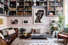 my scandinavian home: pink walls, book shelves and art in Karolina Modig's beautifully creative Stockholm home