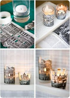 photo copy an interesting architectual print from a book, cut out the building's skyline and glue on a glass votive candle elegant diy idea