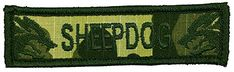 """[Single Count] Custom, Cool & Awesome {3.75"""" x 1"""" Inches} Small US Armed Forces Sheepdog Text Snarling Dog Face Camo Camouflage (Tactical Type) Velcro Patch """"Green"""" mySimple Products"""