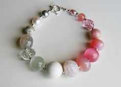 [i love that no 2 beads are the same] Dusty Rose Pink Ivory Grey Bracelet - Sterling Silver by SmArtAnna via Etsy