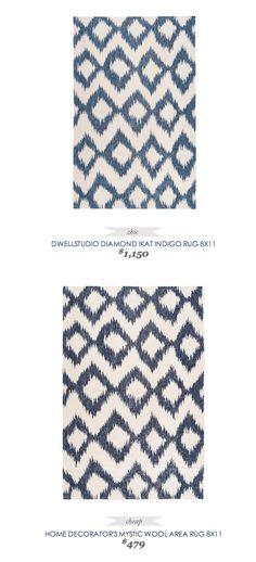 #CopyCatChicFind #DwellStudio Diamond #Ikat #Indigo #Rug $1150 - vs - #HomeDecorators Mystic Wool Area Rug $479