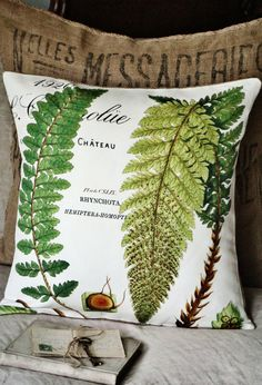 Burlap and Cotton Pillow Cover Green Fern Botanical by JolieMarche, $35.00