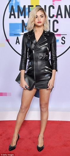 Be a biker babe like Selena Gomez in Coach #DailyMail Pinterest: KarinaCamerino