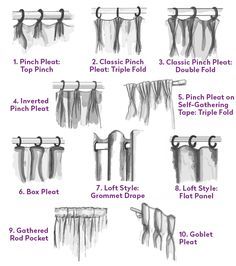 1. Pinch Pleat: Top Pinch This casual, traditional drapery style has an almost couture-like detailing, with the pinch pleat at the very top of the curtain. They are strung from small metal rings that are sewn at the top of each pleat and hung on a narrow rod. 2. Classic Pinch Pleat: Triple Fold In …