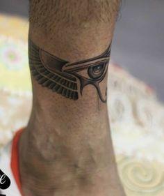 Eye of Horus design Tattoo Band, Leg Tattoo Men, Chest Tattoo, Leg Tattoos, Body Art Tattoos, Small Tattoos, Cool Tattoos, Future Tattoos, Tattoos For Guys