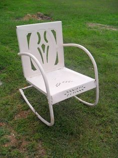 vintage metal rockers | Vintage Metal Chairs And Retro Patio Tables - Vintage Gliders