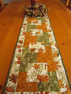 Fall Table Runner Nature's Leaves by PatchworkMountain on Etsy