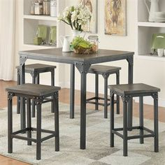 Kimonte Rectangular Counter Height Table W 4 Ivory Barstools Is Not Your Average Entertaining Table Holiday Spirit Pinterest Jennifer Convertibles