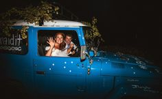 Audrey and Jeremy Roloff make their exit in a decorated car