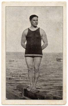 vintage bathing suits for men | 1920s Vintage Postcard Everett Ardargo - Men's Vintage Bathing Suit