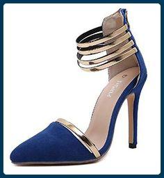 Aisun Damen Süß Metall Pointed Toe Reißverschluss High Heels Pumps Blau 37 EU - Damen pumps (*Partner-Link)