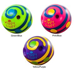 This brightly colored Wiggly Giggly fun ball makes wild noises when you turn, roll and shake them. This fun ball helps your little one develop better gross motor skill exercise.