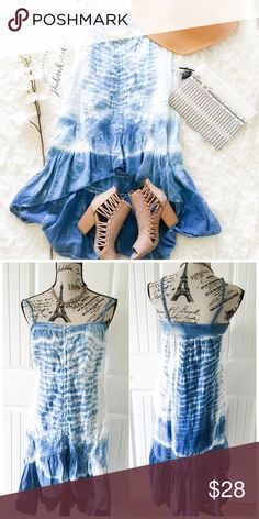 """Beautiful Blue & White Lace & Tie Dye Dress This blue & white tie dye dress has a dramatic high low hemline with lace detailing & a button down front, it's gorgeous!{actual color of item may vary slightly from pics}  *chest:16"""" *waist:16""""/hips:22"""" *length:26""""/37""""(high low) straps:adjustable *material/care:100% cotton/machine wash *fit:true  *condition:no rips/stains   20% off bundles of 3/more items No Trades  NO HOLDS No transactions outside Poshmark  No lowball offers O'Neill Dresses High…"""