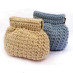 Purse crochet pattern, coin purse, coin pouch, small, squeeze frame, flex frame, pinch purse, blue, natural, cute, crochet pattern, purse by ketzl on Etsy https://www.etsy.com/listing/237806652/purse-crochet-pattern-coin-purse-coin