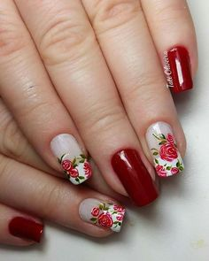 Flowers in red Fancy Nail Art, Fancy Nails, Rose Nails, Flower Nails, Stylish Nails, Trendy Nails, Colorful Nail Designs, Nail Art Designs, Dimond Nails