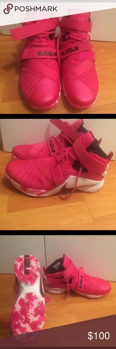 """Nike LeBron Soldier 9 """"Think Pink"""" NWOT The ninth version of the Nike Zoom Solider is built to support your explosive game. It features an innovative strap system that secures the foot from front-to-back and side-to-side for 360 degrees of lockdown. Textile upper with synthetic overlays for lightweight support. Flywire cables integrate with a midfoot strap for lightweight lateral support. Zoom Air units for low-profile, responsive cushioning. Decoupled rubber pods for durability and range of…"""